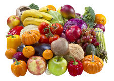 Mixed fruits and vegetables. Royalty Free Stock Photo