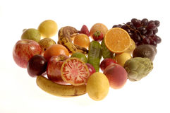 Mixed fruits and vegetables with a white background,fruits Royalty Free Stock Image