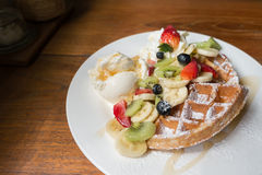 Mixed fruits waffle Stock Photo