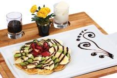 Mixed fruits waffle stock image