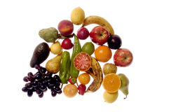 Mixed fruits with a white background,fruits Royalty Free Stock Photos