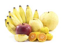 Mixed Fruits on white background. Mixed Fruits include Red ripe apple  banana oranges Royalty Free Stock Photo