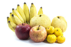 Mixed Fruits on white background. Mixed Fruits include Red ripe apple  banana oranges and other Stock Photography
