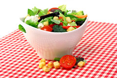 Mixed garden salad in a white bowl Stock Image