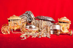Mixed gold and silver jewelry Royalty Free Stock Images