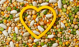 Mixed grains and beans with heart Stock Image