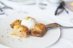 Mixed greek desserts.Baklava, Kadaif royalty free stock photography