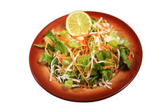 Mixed green salad. Healthy green salad served with lemon Stock Image