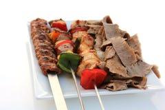 Mixed grill och Shawarma Fotografering för Bildbyråer