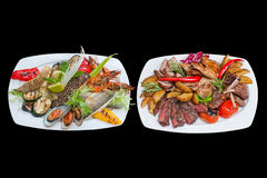 Mixed grill plate. Assorted fish and meat platter. isolated Royalty Free Stock Photo