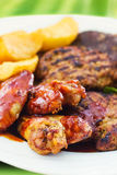 Mixed grill on a plate Royalty Free Stock Photo