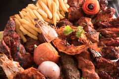 Mixed Grilled meat and vegetables,. Royalty Free Stock Images