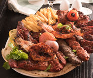 Mixed Grilled meat and vegetables Stock Photo
