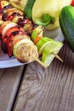 Mixed grillsteknål royaltyfri fotografi