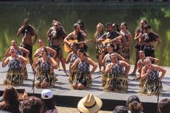 Maori cultural group performing, Hamilton, New Zealand. A mixed group of Maori men and women in traditional costume singing and dancing in front of an audience stock photography