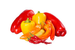 Group of ripe, hot and mild peppers isolated against white Stock Photo
