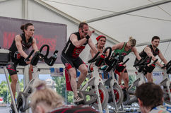 Mixed group at spinning class Stock Photography