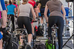 Mixed group at spinning class Royalty Free Stock Photos