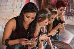 Mixed Group Texting Stock Photos