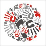 Mixed handprints and footprints - vector Royalty Free Stock Images