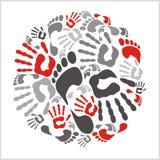 Mixed handprints and footprints - vector Royalty Free Stock Images