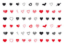 Mixed hearts assortment. Mixed hearts shapes assortment in black and red Stock Photos