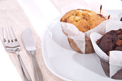 Mixed homemade muffins on a plate Stock Image