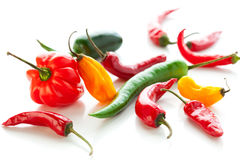 Mixed hot peppers Royalty Free Stock Images