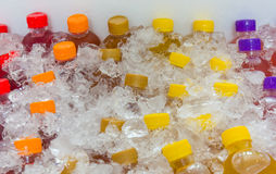 Mixed ice cold juice bottle Stock Image
