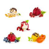 Mixed ice cream with fruits isolated on white  background. Royalty Free Stock Photo