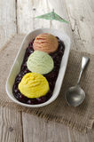 Mixed ice cream on a plate Royalty Free Stock Photo