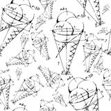 Mixed ice cream scoops with cone. Seamless background pattern Stock Photos