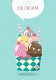 Mixed ice cream scoops,Vector illustrations Stock Photo
