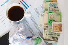 International money and graphs Stock Images