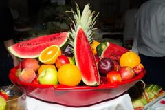 Mixed juicy fruits in a platter. Royalty Free Stock Photography