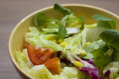 Mixed leaves and tomato salad in a bowl. Fresh colourful mixed leaves salad with cherry tomatoes and corn in a bowl Royalty Free Stock Images