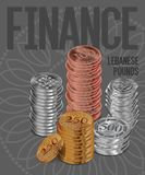 Lebanon Pounds Coins Stacks Cover Poster Design Stock Photography