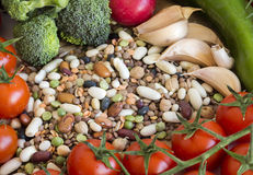 Mixed legumes and vegetables Royalty Free Stock Photography