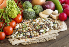 Mixed legumes and vegetables Royalty Free Stock Image