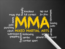 Mixed Martial Arts. Dark chalkboard with the word MMA illustration Stock Image