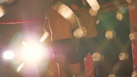 Mixed martial arts athletes fighting in the ring in slow motion. 4K. Two muscular mixed martial arts athletes fighting in the ring in slow motion stock video footage