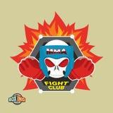 Mixed Martial Arts Labels. Skull   boxing helmet. MMA logo Stock Photos