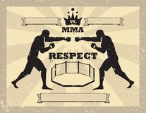 Mixed Martial Arts - tapping gloves. Poster or certificate to announce a fight, award the winner or display the value of respect in mixed martial arts cage Vector Illustration