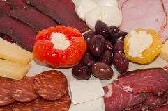 Mixed meat appetizer. Plate in southern Serbia style Stock Photos
