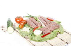 Mixed meat for barbecue. Plate with meat for baberbecue Stock Photos