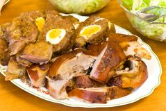 Mixed meat-roasted.pigling,duck and minced meat royalty free stock image