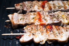 Mixed meat skewer Stock Photos