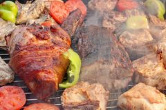 Mixed Meat And Vegetables On The Hot BBQ Grill Stock Image