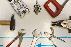 Mixed mechanic tools Royalty Free Stock Photo