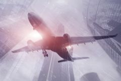 Mixed media abstract background. Airplane in the city stock photography